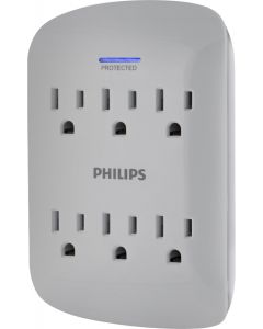 Philips 6-Outlet Wall Tap with Surge Protection, Gray