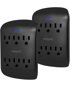 Philips 6-Outlet Wall Tap with Surge Protection, 2 Pack, Black