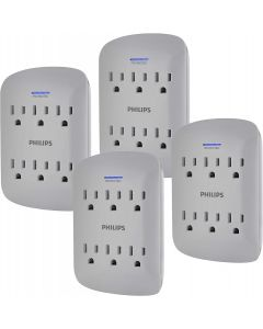 Philips 6-Outlet Wall Tap with Surge Protection, 4 Pack, Gray