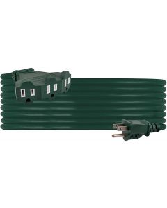 Philips 3-Outlet 25ft. Outdoor Extension Cord with Power Block, Green
