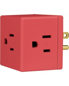 Philips Grounded 3-Outlet Wall Tap, Coral