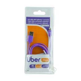 Uber 4 Ft Lightning Charging Cable Purple