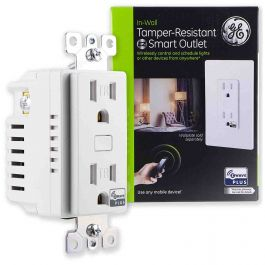 Ge Z Wave Plus In Wall Tamper Resistant Smart Outlet White
