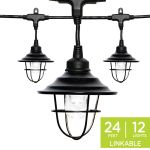 Enbrighten Light Bundle - Classic LED Cafe Lights (12 Bulbs, 24ft. Black Cord) and 12 Oil-Rubbed Bronze Cage Light Shades
