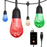 Enbrighten USB Color Changing LED Cafe Lights, 24 Bulbs, 24ft. Black Cord