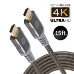 GE 15ft. 4K HDMI Cable with Ethernet, Gray