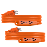 UltraPro 3-Outlet 15ft. Heavy Duty Indoor/Outdoor Extension Cord, 2 Pack, Orange