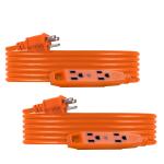 UltraPro 3-Outlet 25ft. Heavy-Duty Indoor/Outdoor Extension Cord, 2 Pack, Orange