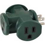 GE 3-Outlet T-Shaped Adapter, Green