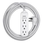 Philips 3-Outlet 8ft. Extension Cord with Surge Protection, White