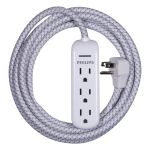 Philips 3-Outlet 8 ft. Extension Cord with Surge Protection, White