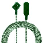 Philips 3-Outlet 8ft. Braided Extension Cord with Flat Plug, Green/White