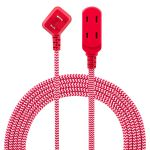 Philips 3-Outlet 8ft. Braided Extension Cord with Flat Plug, Red/White